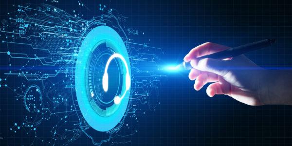 Illustration d'un centre de contact digital avec intelligence artificielle